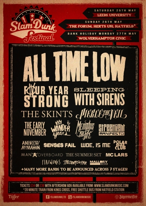 Final line-up announced for Slam Dunk 2013